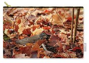 Robin Playing In Fallen Leaves Carry-all Pouch