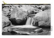 Rocky Mountain Canyon Waterfall In Black And White Carry-all Pouch