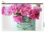 Paris Red Pink Peonies Maison Flowers Pink Book - French Aqua Pink Peonies Books Wall Decor Carry-all Pouch