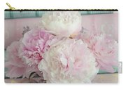 Paris Peonies Floral Books Art - Pink And Aqua Peonies Books Decor - Shabby Chic Peonies  Carry-all Pouch