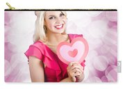 Romantic Woman With Heart Shape Valentine Card Carry-all Pouch