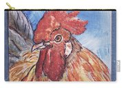 Rooster Country Painting On Blue  Carry-all Pouch
