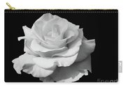 Rose Unfurled In Black And White Carry-all Pouch