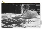 Rose Vase In Shadows Black And White Carry-all Pouch