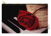 Rose With Sheet Music On Piano Keys Carry-all Pouch