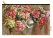 Roses In A Sevres Vase Carry-all Pouch by Pierre Auguste Renoir