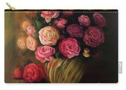 Roses In Brass Bowl Carry-all Pouch