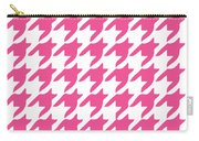 Rounded Houndstooth With Border In French Pink Carry-all Pouch