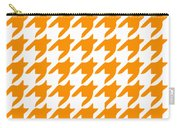 Rounded Houndstooth With Border In Tangerine Carry-all Pouch