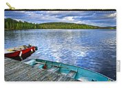 Rowboats On Lake At Dusk Carry-all Pouch by Elena Elisseeva