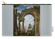 Ruins With The Statue Of Marcus Aurelius Giovanni Paolo Panini Carry-all Pouch