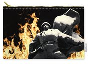 Russian Soldier Statue In Snow And Fire Carry-all Pouch