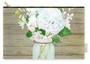 Rustic Country White Hydrangea N Matillija Poppy Mason Jar Bouquet On Wooden Fence Carry-all Pouch