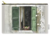 Rustic Open Window With Green Shutters Carry-all Pouch