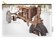 Rusty Old Steel Wheel Tractor In The Snow Tilt Shift Carry-all Pouch