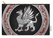 Sacred Silver Griffin On Black Leather Carry-all Pouch