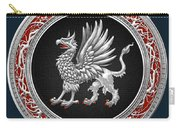 Sacred Silver Griffin On Blue Leather Carry-all Pouch