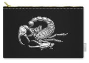 Sacred Silver Scorpion On Black Canvas Carry-all Pouch
