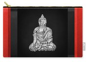 Sacred Symbols - Silver Buddha On Red And Black Carry-all Pouch