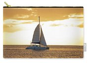 Sailboat Sailing Off Of Anse Chastanet At Sunset Saint Lucia Caribbean  Carry-all Pouch