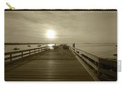 Salem Willows Pier At Sunrise Sepia Carry-all Pouch
