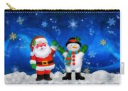 Santa And Frosty Painting Image With Canvased Texture Carry-all Pouch