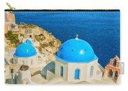 Santorini Oia Church Caldera View Digital Painting Carry-all Pouch