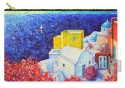 Santorini Oia Colors Modern Impressionist Impasto Palette Knife Oil Painting By Ana Maria Edulescu Carry-all Pouch