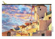 Santorini Windmill At Oia Digital Painting Carry-all Pouch
