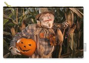Scarecrow With A Carved Pumpkin  In A Corn Field Carry-all Pouch