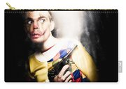Scary Clown Standing In Shadows With Smoking Gun Carry-all Pouch