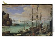 Scene Of A Sea Port Carry-all Pouch by Paul Bril