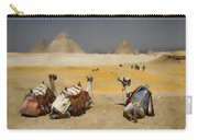 Scenic View Of The Giza Pyramids With Sitting Camels Carry-all Pouch