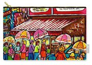 Schwartz's Deli Rainy Day Line-up Umbrella Paintings Montreal Memories April Showers Carole Spandau  Carry-all Pouch