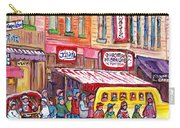 Schwartz's Smoked Meat Deli On The Main Montreal Hockey Art Scenes School Bus Painting C Spandau Art Carry-all Pouch