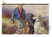 Scottish Boy With Wolfhounds In A Highland Landscape Carry-all Pouch by James Jnr Hardy
