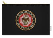 Scottish Rite Double-headed Eagle On Black Leather Carry-all Pouch