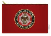 Scottish Rite Double-headed Eagle On Red Leather Carry-all Pouch