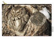 Screech Owl In Cavity Nest Carry-all Pouch