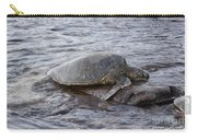 Sea Turtle On Rock Carry-all Pouch