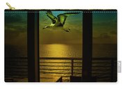 Seagull And Sunset Clouds Carry-all Pouch by Fernando Cruz