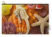 Seahorse And Assorted Sea Shells Carry-all Pouch by Garry Gay