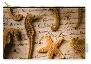 Seahorses And Starfish On Old Letter Carry-all Pouch by Garry Gay