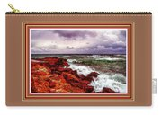 Seascape Scene On The Coast Of Cornwall L B With Alt. Decorative Ornate Printed Frame. Carry-all Pouch