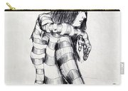 Seated Striped Nude Carry-all Pouch