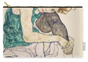 Seated Woman With Bent Knee Carry-all Pouch by Egon Schiele