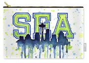 Seattle Watercolor 12th Man Art Painting Space Needle Go Seahawks Carry-all Pouch