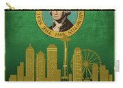 Seattle City Skyline State Flag Of Washington Art Poster Series 017 Carry-all Pouch