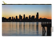 Seattle Skyline Silhouette At Sunrise From The Pier Carry-all Pouch