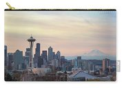 Seattle Skyline With Mount Rainier During Sunrise Panorama Carry-all Pouch